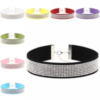 Wholesale diamante bracelets - 16 Colors Diamante Crystal Choker Necklace Collar Crystal Necklaces Bracelet Bangle for Women Fashion Jewelry Drop Shipping