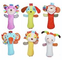 Wholesale baby doll sheep - Wholesale- 2016 HOT newborn toys Rattles Cartoon Sheep dogs cats lion elephant monkey Model Handbells plush Rattles Cute Gift Baby toy doll