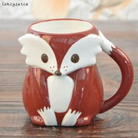 Wholesale Stainless Steel Ceramic Coffee Mugs - Wholesale- wedding coffee mugs ceramic Cartoon fox milk cup home decor craft room decoration porcelain figurine handicraft cup