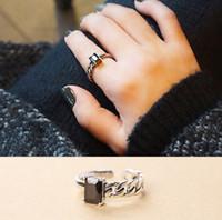 siyah taşlar yüzük kadınlar toptan satış-925 Ayar Gümüş Yüzük Açık Boyutu Simetri Gümüş Yüzük Siyah Kare Taş Parmak Yüzük Kadınlar Manşet Ayarlanabilir Yüzük