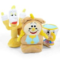Wholesale Doll Clock - 3pcs Lot 10cm -18cm Beauty and the Beast Clock   candle   cup Plush Doll Stuffed Toy For Baby Good Gifts