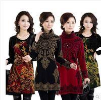 Wholesale Women S Long Sweater Tunics - Wholesale- S~3XL,4XL! 2016 Autumn Winter Plus Size Women Sweater Turtleneck Tunic Long woman print Casual Pullover knitwear white,yellowred