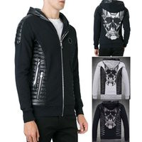 Wholesale Men Leather Sweats - Cardigan Sweatshirt Man Slim Fit Hood Full Zipper Embroidery Crystal Skull Hoodie Leather Patches Mens Sweat Zip Jumper