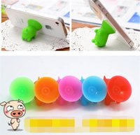 Wholesale 3gs Iphone Accessories - 300pcs Pure Silica Gel Multi Color Pig Sucker Stand Holder for Car Mobile for Iphone 4s 4 3g 3gs Phone Accessory Free Shipping