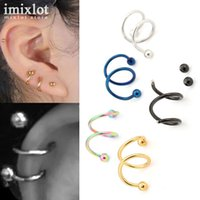 Wholesale Cuff Earrings Women - 16G 316L Stainless Steel Spiral Ear Cuff Clip Women Men Clip On Earrings Fake Piercing Nose Lip Spiral Rings Body Jewelry