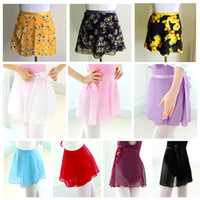 Wholesale Girl Skirt Adult - Women Ballet Skirt Adult Chiffon Dancing Wear Children Dance Practice Costume Kid Pure Color Wrap Girls Floral Print Wrap Skirt