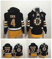 Wholesale Rays Hoodie - 2017 New Boston Bruins Jerseys Pullove 4 Bobby Orr 77 Ray Bourque 37 patrice bergeron Black Stitched Hockey Jerseys Hoodies Size M-XXXL