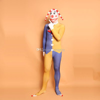 Cosplay Funny Clown Cosplay Costume Unitar Lycra Spandex Body Full Zentai BodySuit per Halloween