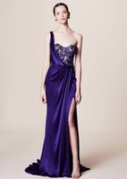 Wholesale One Shoulder Mermaid Sequin - sexy side split one shoulder evening dresses 2018 marchesa dresses for evening embroidery lace beaded bodice formal gowns