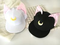 Wholesale Horn Snapback - Lovely Sailor Moon Cat Cap Snapback Ears Gorras Planas Hip Hop Hat Devil Horns Sunshade Casquette Baseball Cap free shipping