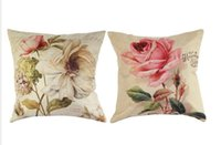 Wholesale Retro Flower Cushion Covers - New Retro Vintage Green Butterfly Rose Flower Home Decorative Cotton Linen Pillow Case Cushion Cover 18'' 45CM