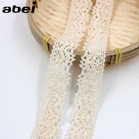 20yards / lot 2.5cm Qualidade Bege Natural Cotton Lace Edge Theory Sweater Side Skirt Full Cotton Curtain Sofa DIY COTTON Lace TRIM