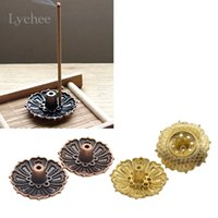 Commercio all'ingrosso - Lychee 2 pezzi Lotus Fiori Pattern Incenso bruciatore Stick Holder Incenso Base Plug Decorazione domestica