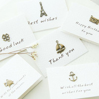 Wholesale Valentine Card Messages - Vintage Mini Thank You Greeting Card Leave Message Cards Lucky Love Valentine Christmas Party Invitation Letter Free Shipping ZA3610