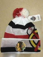 Wholesale Cuffed Pom Beanies - New Beanies Chicago Blackhawks White 2017 Winter Classic Players Cuffed Knit Hat With Pom Mix Match Order All Caps High Quality Hat