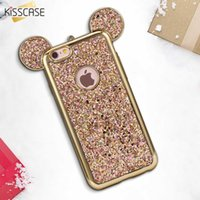 Wholesale Mouse For Apple - KISSCASE 3D Mickey Mouse Ear Case For iPhone 5 5s SE Soft Silicone Bling Glitter Cover Case For iPhone 5 5s SE Coque Accessories