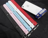 Wholesale Leather Slide Charm Accessories - Wholesale - 50pcs lot 18+8mm PU Leather Wristband Bracelet Fit For 8mm Slide Letters Charms DIY Accessories