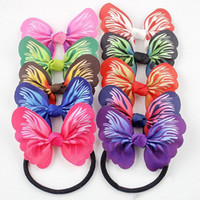 Wholesale Butterfly Bow Holder - 50pcs lot Elastic hair ties hair bands butterfly style Bows HairBands Stripes Dots girls ponytail holder pony girl rubber hair accessories