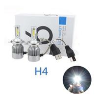 Wholesale Headlight Super White Bulbs - 2PCS 2017 New Design High Power LED 72W 7600LM 6000k Super White Bulbs C6 H4 Led Headlight For Fog Lights Driving Lamps