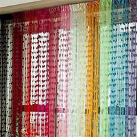 Line String Door Tassel Divider Sheer Curtains para sala de estar Valance 11 Colors Organza Curtains