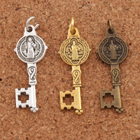 Wholesale Bronze Cross Antique - St Saint Benedict Medal Cross Key Charms Pendants Antique Silver Gold Bronze Jewelry DIY T1640 12.5x32.7mm