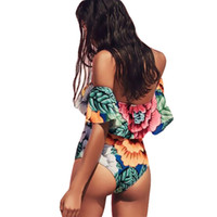 Wholesale Lady Thongs - 2017 Sexy Floral Off Shoulder Swim Wear Lady High Cut Bathing Suit Ruffle Plus Size Thong Swimwear Women One Piece Swimsuit
