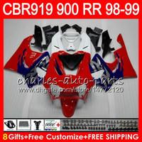 Wholesale 1998 Cbr 919 Fairings Red - Body For HONDA CBR 919RR CBR900RR CBR919RR 98 99 CBR 900RR TOP red blue 68HM12 CBR919 RR CBR900 RR CBR 919 RR 1998 1999 Fairing kit 8Gifts