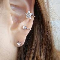 1 Pc Women's Fashion Elegant Earring Rhinestone Ear Cuff Warp Clip Ear Stud 6Y32