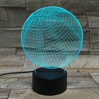 Wholesale Pouring Light Lamp - Wholesale- 3D Night Lights Basketball Shape Table Lamp Battery Powered Veilleuses Pour Enfants Nightlight Luminaria Home Lighting Lampara