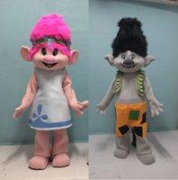 mascote real venda por atacado-Ohlees imagem real Nova Trolls Traje Da Mascote papoula Parade Qualidade Palhaços Palhaços de Dia Das Bruxas atividade partido fantasia Outfit