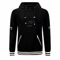 siyah örme hoodie toptan satış-Ücretsiz kargo! EN KALITELI Erkek Örgü Hoodies erkek Siyah Harfler Baskı Çizgili etek ile Yetişkin Kazak Kapüşonlu Sweatshirt