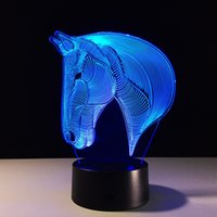 2017 Horse Head 3D Illusion Night Lamp Lampe Optique 3D AA Batterie DC 5V Livraison gratuite en gros