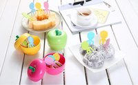 Wholesale apple shape cake for sale - Group buy Cute ABS Lovely Fruit Fork Set With Apple Shape Box Container Kids Cake Dessert Forks Toothpick