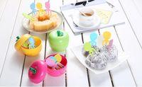 boîte à cure-dents achat en gros de-Mignon ABS belle fourchette à fruits 10 Pcs / Set Avec Apple Shape Box Container Enfants Gâteau Dessert Fourchettes à Dents
