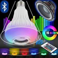 bombillas led c7 c9 al por mayor-1 UNID 12W E27 12W Inalámbrico RGB Bombilla de música Lámpara LED Altavoz Bluetooth 110V 220V Inalámbrico RGB Reproductor de música Audio Altavoz con luz con control remoto