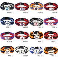 Wholesale Wholesale Survival Bracelet Charms - MLB Jewelry Baseball Bracelet Baseball Fans Gifts Baseball Team Bracelets Parachute Cord Survival Bracelet Survival Straps Bracelet