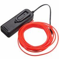 batería de coche ligero al por mayor-Mising 5M Multicolor EL Wire Tube Rope Powered Neon Flexible Car Light Party Party Decor con el controlador