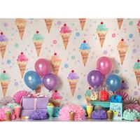 ingrosso carta da parati di compleanno-Digital Printed Ice Cream Wallpaper for Photography Palloncini colorati Fiori di carta Baby neonato compleanno festa di compleanno Studio fotografico sfondo