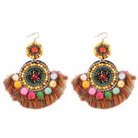 2017 Moda Multicolored Crystal Beads Round Tassel Big Dangle Brincos para Mulheres Presentes Boho Wedding Drop Earrings Long Statement Jewelry