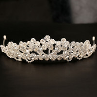 Rhinestone/Crystal gorgeous wedding hair - Gorgeous Sparkling Silver Big Wedding Diamante Pageant Tiaras Hairband Crystal Bridal Crowns For Brides Hair Jewelry Headpiece