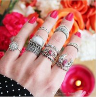 Wholesale Hand Ring Set - 60set 14pcs Set Bohemian Knuckle ring set Alloy hand Chain Beach For Women Fashion Retro Turquoises Knuckle Ring Bagues Femme F165
