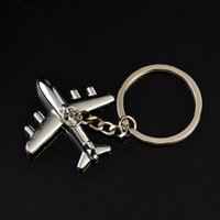 Wholesale Keychain Aircraft - Classtic Fashion Collection 3D Silver Aircraft Titanium Key Chain Car Keychain Ring Keyfob Metal Keyrings