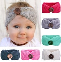 Wholesale Crochet For Hair Bows - New Baby Fashion Buttons Headband Handmade Crochet Knitted Hairband Autumn Winter Headwrap For Baby B999