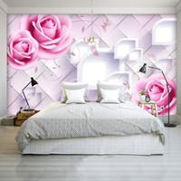 dessins de peinture de salon achat en gros de-Personnalisé Photo Murale Moderne design 3d Chambre Papier Peint pour Murs 3d Romantique Peinture Rose Rose Floral Salon Chambre Fresque