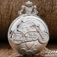 Wholesale Pocket Motorbikes - Wholesale-Vintage Retro Silver Color Motorcycle Motorbike MOTO Pocket Watch Necklace Pendant Quartz Watch Relogio De Bolso Men Gift