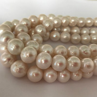 Wholesale Pearl Loose Stones - 12-14mm White Cultured Freshwater Pearls Round Loose Beads Gem Stone Spacer Beads & DIY Jewelry for jewelry making supplies Cheap Wholesale
