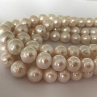 14mm weiße perlen perlen großhandel-12-14mm Weiß Süßwasser Zuchtperlen Runde Lose Perlen Edelstein Spacer Perlen DIY Schmuck für schmuck machen liefert Billig Großhandel