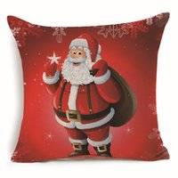 Wholesale santa claus bedding christmas resale online - Christmas Square Cushion Cover Pillow Case Santa Claus Decorative Sofa Bed Car Decoration Ornament Home Decor Gift Pillowcase Sofa Flax