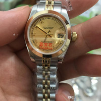 Wholesale Ladies Watch Faces - Top seller Unisex Wristwatch Full Stainless Steel gold Face top quality mechanical watch women's watch lady 26mm free shipping