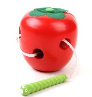 2-4 Years Wood as pic Wholesale- 2015 Fashion Learning&Education Children Kids Colorful Wooden Baby Worm Eat Fruit Apple Toys Red + Green 0-7 Years